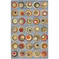 Safavieh Handmade Soho Modern Abstract Blue/ Multi Wool Rug - 7'6 x 9'6