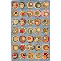 "Safavieh Handmade Soho Modern Abstract Blue/ Multi Wool Rug - 7'6"" x 9'6"""