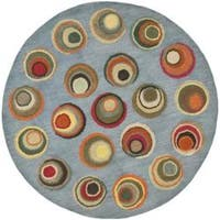 Safavieh Handmade Soho Modern Abstract Blue/ Multi Wool Rug (6' x 6' Round)