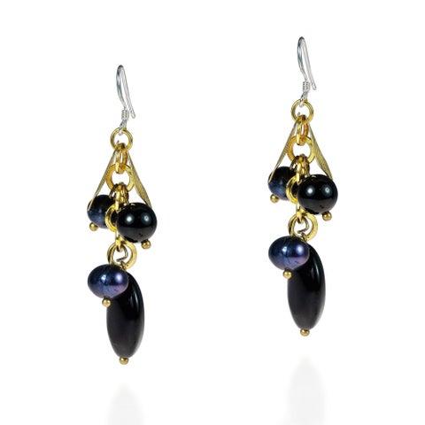 Handmade Gold Leaf Black Onyx and Pearls Dangle Earrings (Thailand)
