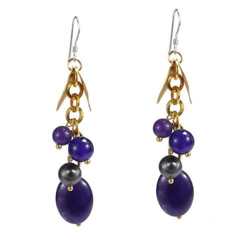 Handmade Gold Leaf Purple Amethyst Dangle .925 Silver Earring (Thailand)