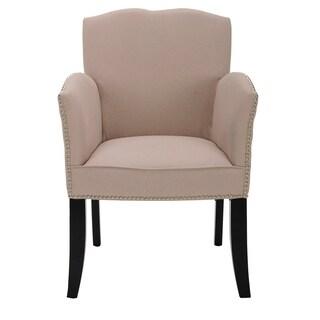 Safavieh En Vogue Dining Toulon Tan Linen Arm Chair