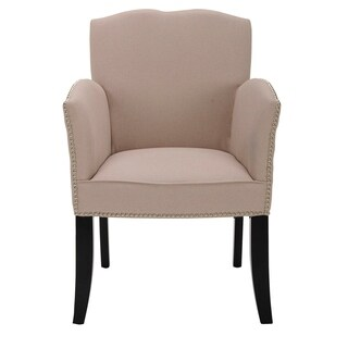 Safavieh En Vogue Dining Toulon Tan Linen Arm Chair