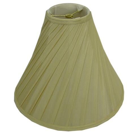 Round Diagonal-pleated Cream Silk Lamp Shade