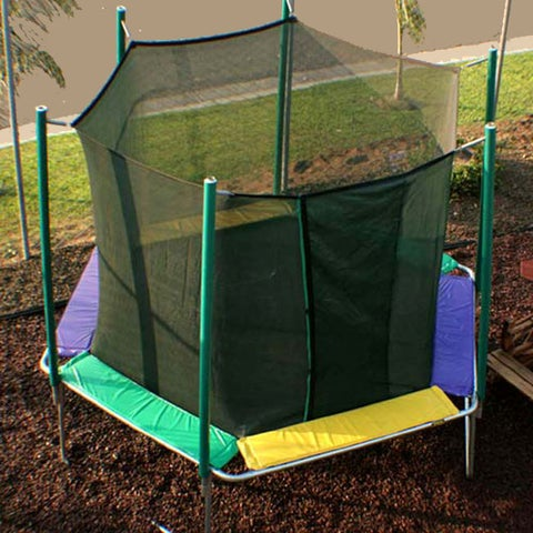 Magic Circle 12 ft Hexagon Trampoline with Safety Cage - Green/Black