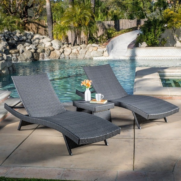 Christopher knight home outdoor brown wicker 3 piece for Brown chaise lounge outdoor