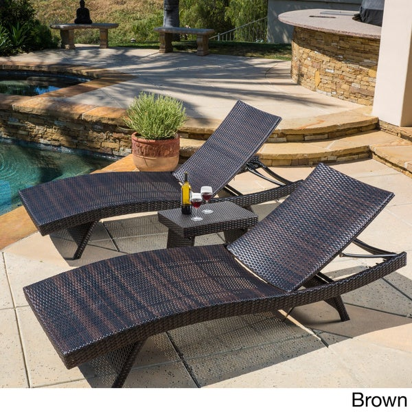 christopher knight home outdoor brown wicker 3piece adjustable chaise lounge set free shipping today