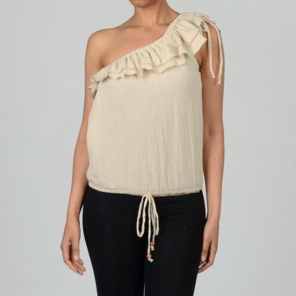 Elan Women's One Shoulder Gauze Top