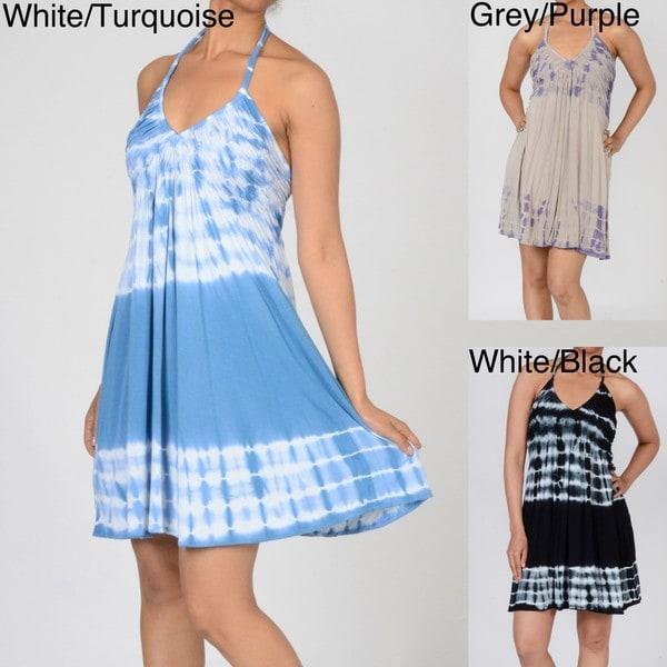 Elan Women's Swirl BustTie Dye Halter Dress