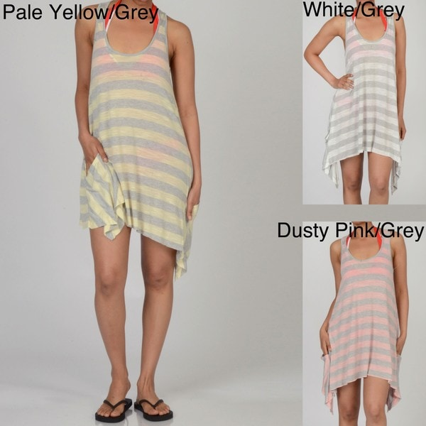 Elan Women's Striped Racerback Side Pocket Cover-up Dress