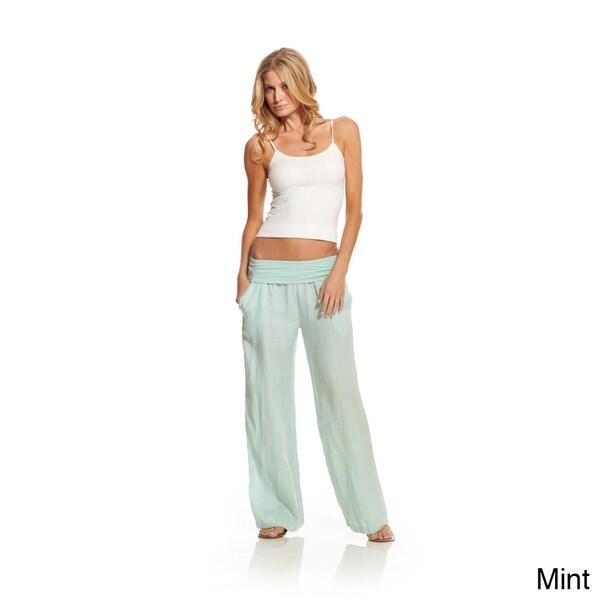 Elan Women's Linen Rollover Waistband Pants