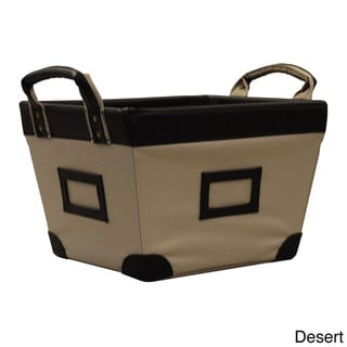 Small Decorative Canvas Storage Basket with At-a-glance Label Holders