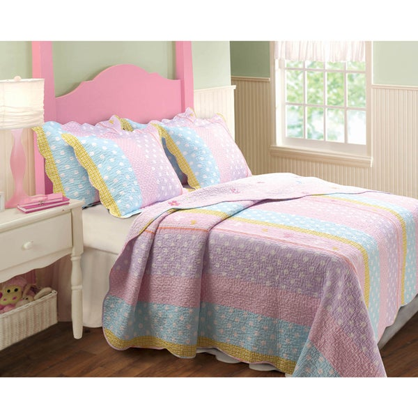 shop greenland home fashions polka dot stripe 3 piece quilt set