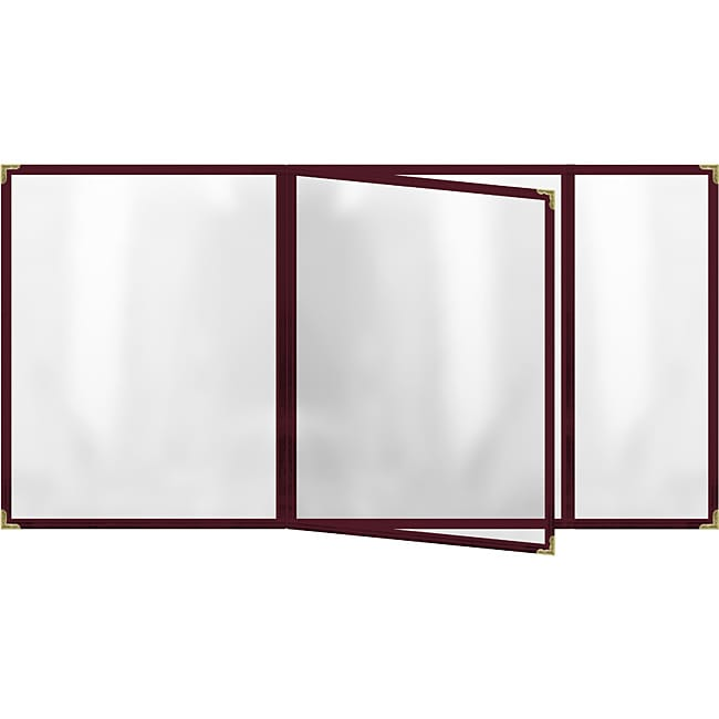 Four Pocket Booklet with Maroon Sewn Edge Menu Covers (Pack of 24)