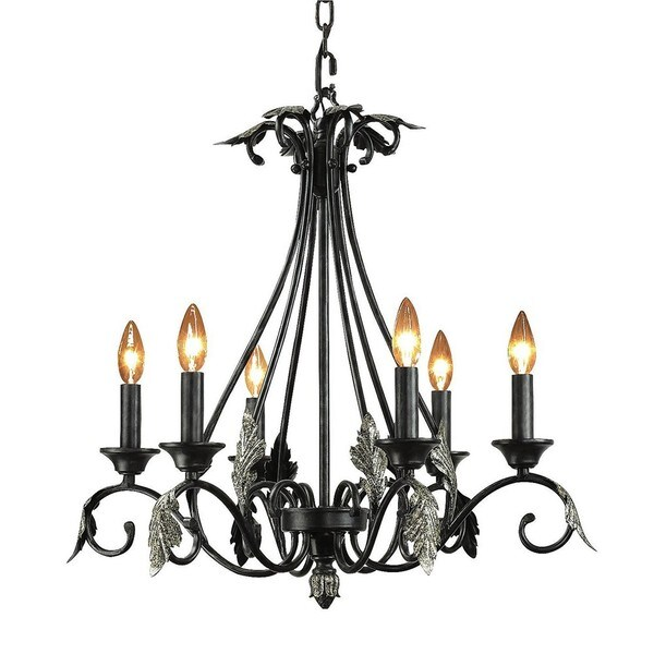 Woodbridge Lighting Easton 6-Light Candelabra-Style Charcoal Chandelier