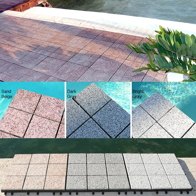 Granite Decktiles, Box of 6 Tiles to cover 6sf Perfect For Outdoor