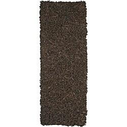 Hand-tied Pelle Dark Brown Leather Shag Rug (2'6 x 12')