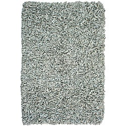 Hand-tied Pelle Off-white Leather Shag Rug (4' x 6')