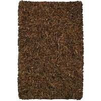 Hand-tied Pelle Brown Leather Shag Rug - 5' x 8'