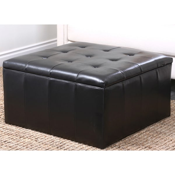 Abbyson Broadway Bonded Leather Storage Cocktail Ottoman