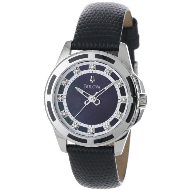Bulova Women's 98P118 Enamel-inlay Case with Black Mother of Pearl Dial Watch