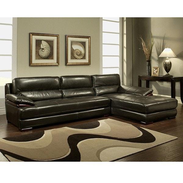 Shop Montecito Espresso Leather Sectional Sofa
