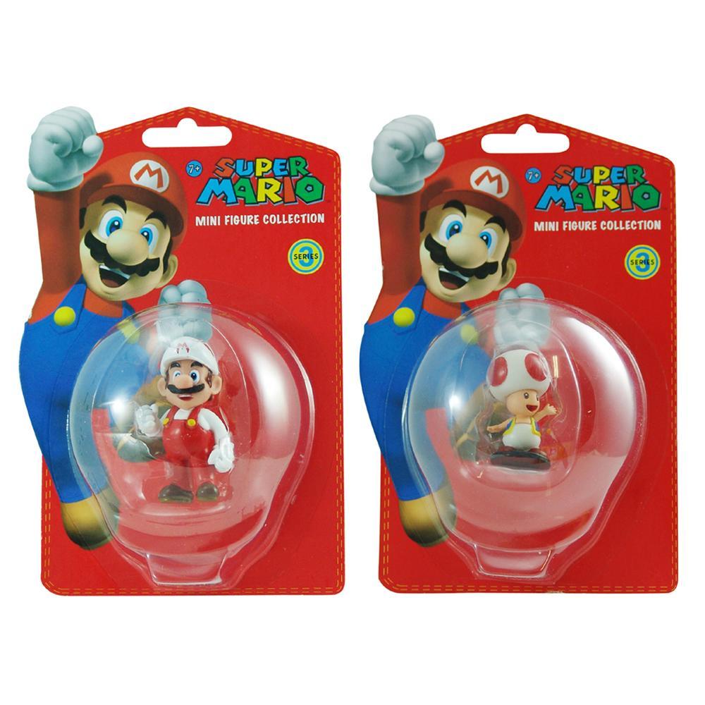 Super Mario Brothers Mario and Toad Figurine Bundle