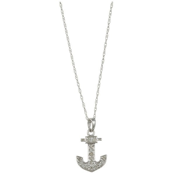 10k White Gold 1/10ct TDW Diamond Anchor Necklace