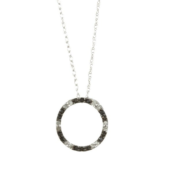 10k Gold 1/6ct TDW Black and White Diamond Necklace (G-H, I1-I2)