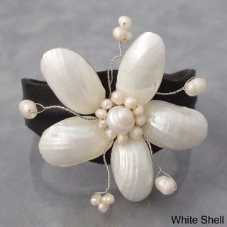 Leather White Pearlized Shell/ Pearls Floral Cuff (3-12 mm) (Thailand)