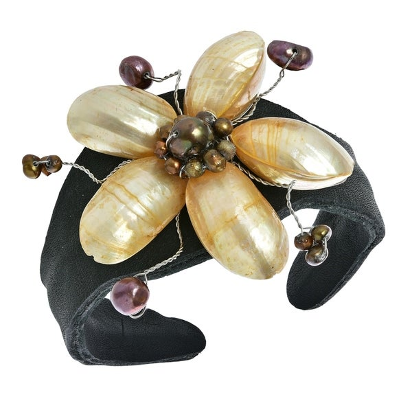 Handmade Leather White Pearlized Shell/ Pearls Floral Cuff (Thailand)