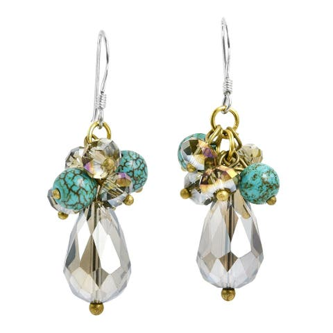 Handmade Turquoise & Crystal Cluster Drop .925 Silver Earrings (Thailand)