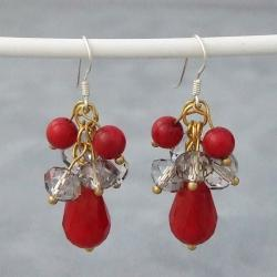 Sterling Silver Red Coral and Crystal Drop Earrings (Thailand)
