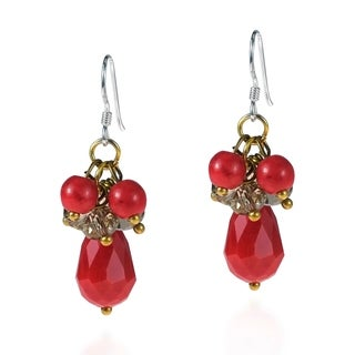 Handmade Sterling Silver Red Coral and Crystal Drop Earrings (Thailand)
