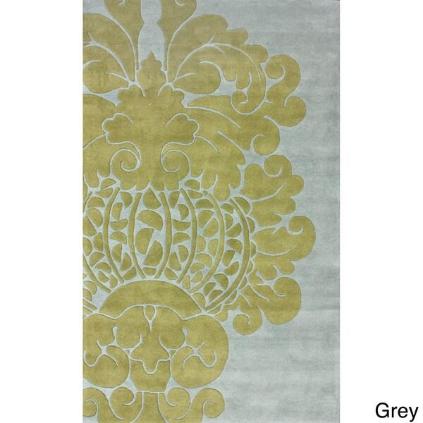 nuLOOM Handmade Modern Damask Wool Rug (5' x 8')