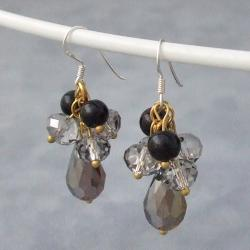 Silver Smoky Black Onyx and Crystal Dangle Earrings (Thailand)
