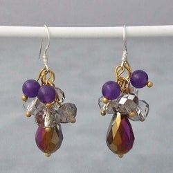 Handmade Sterling Silver Amethyst and Rainbow Crystal Drop Earrings (Thailand)