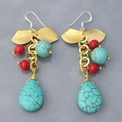 Handmade Gold Leaf and Silver Turquoise and Red Coral Drop Earrings (Thailand)