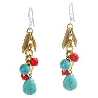 Gold Leaf Turquoise Red Drop Dangle .925 Silver Earrings (Thailand) - BLue