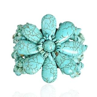Handmade Cotton Rope Blue Turquoise Jingle Bell Flower Bracelet (Thailand)