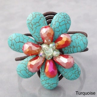 Handmade Cotton Reconstructed Turquoise and Crystals Flower Cuff (Thailand)