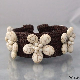 Handmade Cotton Reconstructed Turquoise/ Pearl Flower Cuff (3-5 mm) (Thailand)