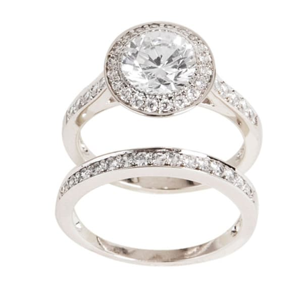 NEXTE Jewelry Silvertone Cubic Zirconia Bridal-Inspired Ring Set