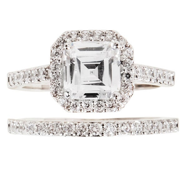 NEXTE Jewelry Silvertone Asscher-cut Cubic Zirconia Bridal-Inspired Ring Set - White/Silver