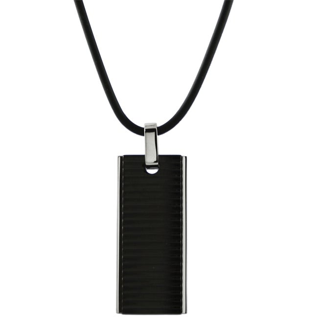 Stainless Steel Textured Black Necklace