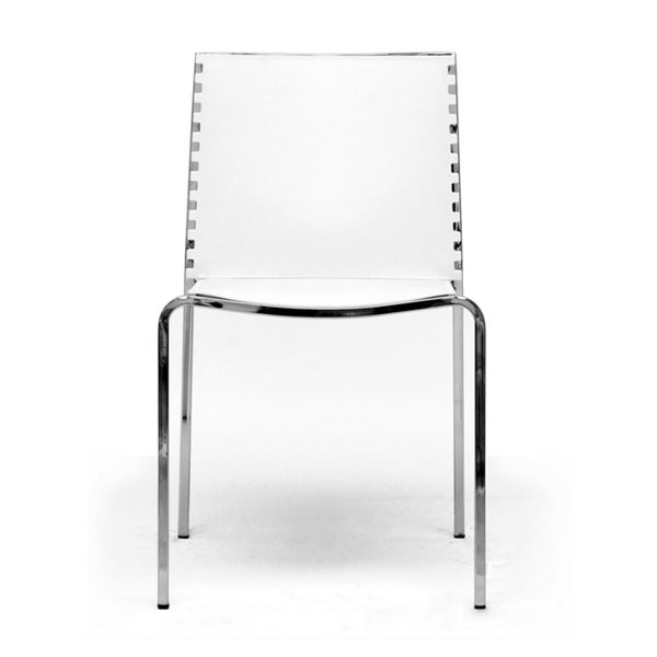Gridley White Plastic Modern Dining Chair Set (Set of 2)
