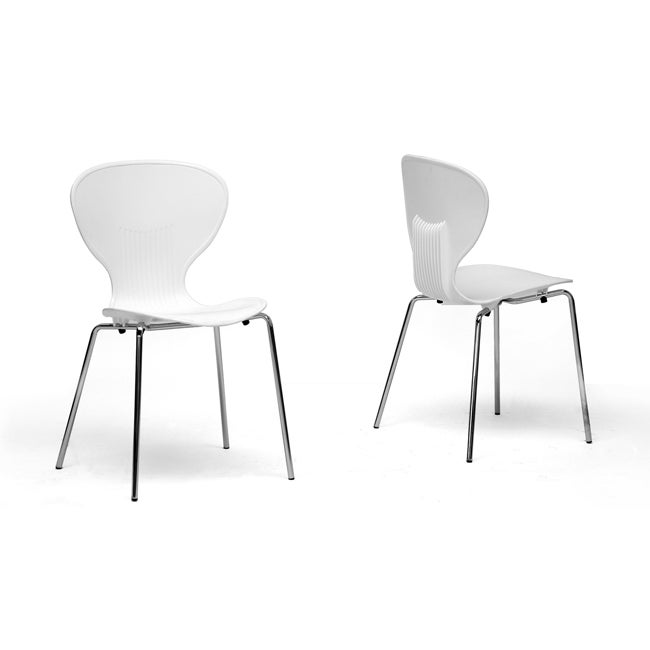 Boujan white plastic modern dining chair set of 2 free for White plastic dining chair