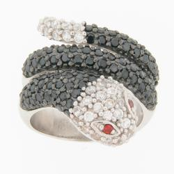 Meredith Leigh Silver Multi-colored Cubic Zirconia Critters Snake Ring