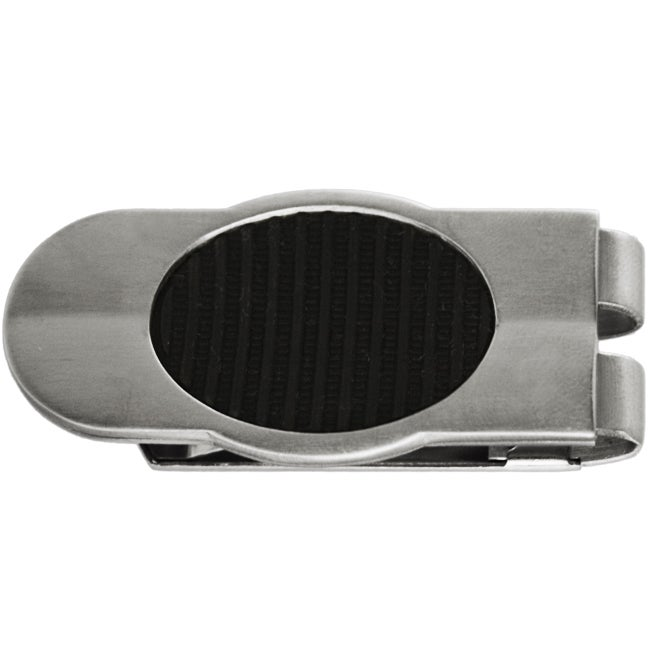 Stainless Steel Textured Black Oval Money Clip