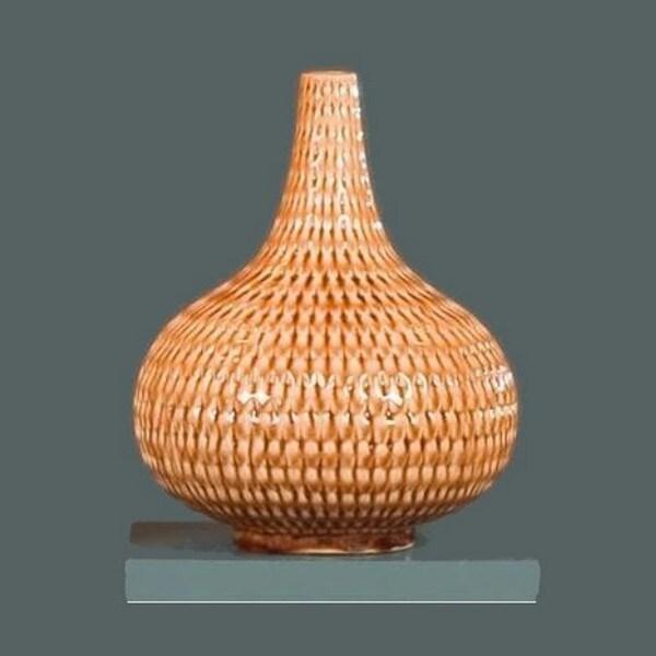 Honey Almond Woven Modern Basket Vase Lamp